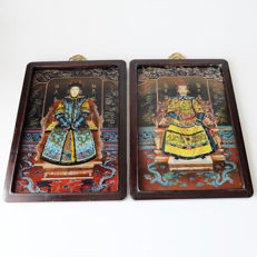 Reverse paintings on glass Emperor & Empress - China - 21th century