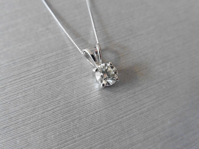 Platinum Diamond Pendant and Gold Necklace - 1.02ct - 16 inches