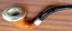 Authentic Calabash pipe in  Meerschaum and marked silver. Austria. 1915/20. By Strambach (?)