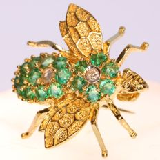 Vintage bejeweled fly brooch