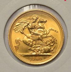 United Kingdom – Sovereign 1980 Elizabeth II – gold
