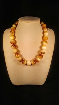 Round beads modified Landscape colour Baltic Amber necklace, 97 grams