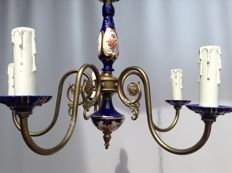 Limoges style 6-arm brass chandelier