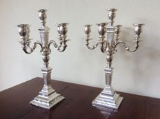 Set silver candelabra/candle holders, double usage, D.J. Aubert, The Hague, 1996