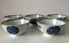 5 Blue and White Export Bowls - China - 18th Century
