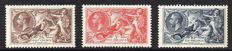 Great Britain, King George V 1934 - 2/6d 5/- and 10/- Re-Engraved Seahorse Set, Stanley Gibbons 450/452