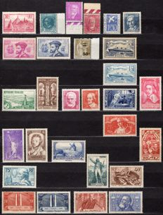 France 1934-1936 – Three complete years save one stamp - Yvert 290 to 333.