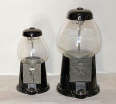 2 gum balls machines, late 20th century, metal and glass