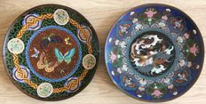 Two cloisonne chargers - Japan - late 19th century (Meiji period)