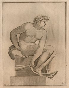 Adamo Scultori (actief 1547-1587) - Young male nude -  after Michelangelo - Ca.1550-1570