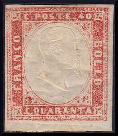 Sardinia, 1855, 40 Cent - pale scarlet red, Sassone no. 16Aa