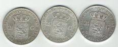 The Netherlands – 2½ guilder coins 1846 (Lily), 1847 and 1848, Willem II – silver