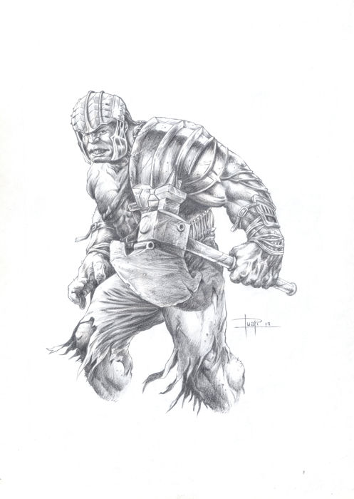 Juan Antonio Abad Juapi Original Pencil Drawing Hulk Gladiator