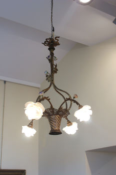 Bronze and porcelain chandelier - France - ca. 1900
