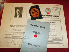 Deed book DRL sports badge with license plates etc, Original