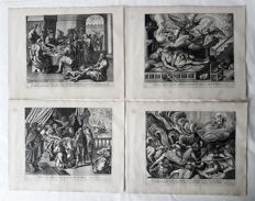 Complete set of 4 prints by Claes Janszoon Visscher (1587 – 19 June 1652) published by Nicolaes Visscher I (1618 - 1679)  - The Gospel Nightmare  - c. 1600