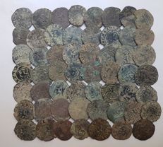 Spain - Henry IV, Lot of 55 coins, copper Blancas (1454-1474)