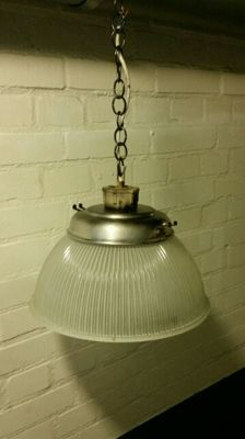 Industrial Glass Workshop Pendant Lamp - Holophane Style - late 20th century.