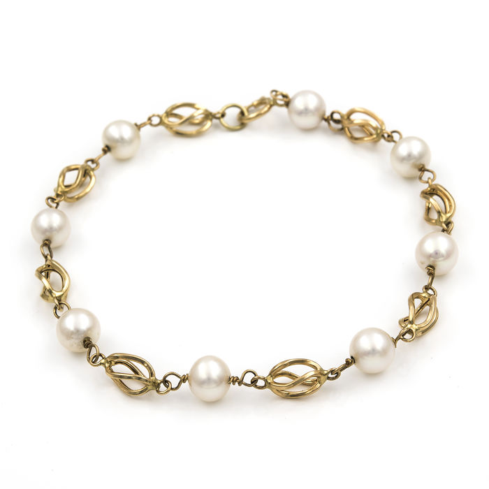 18kt/750 yellow gold – Bracelet with birdcage links – Akoya pearls – Length: 19.00 cm