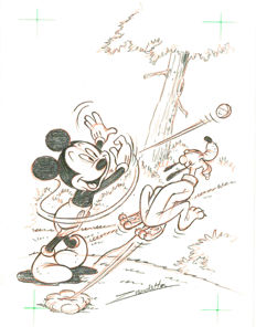 "Vendetta, Z. - Original drawing #3 - Mickey Mouse and Pluto ""Throw and Catch"" series"
