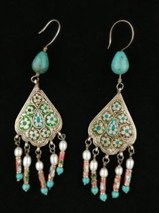 Vintage silver and turquoise earrings with beads and enamel – Uzbekistan – mid 20th century