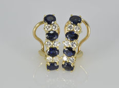 18 kt gold earrings with diamonds and sapphires - no reserve price.