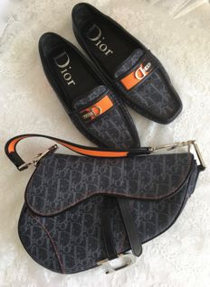 Christian Dior – Denim / leather bag with matching loafers