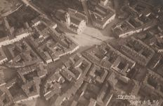 Year 1925 - Saronno - Varese central square with church -photographed from an airship F.6