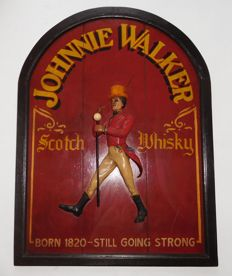 Wooden Pub sign Johnnie Walker Scotch Whisky with plastic Johnnie Walker figure / 2nd half of 20th century