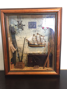Collection of nautical curiosities with three-master, 34x30 cm