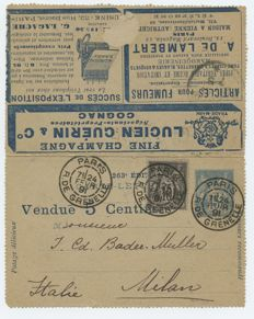 France – Promotional post – sent on February 1891 from Paris to Milan with an additional 10 cent stamp.