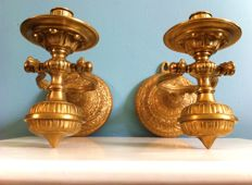 2 Gorgeous bronze ship's candlesticks, early 20th century