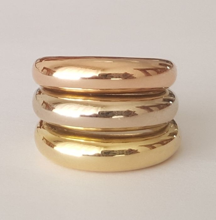 18 kt yellow, white and rose gold wide ring - Size: 17.2 mm 14/54 (EU)