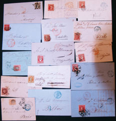Spain 1851/1866 – Isabel II Lot of 15 letters – Edifil No. 6, 12, 17, 24, 33, 44+44a, 48, 48B, 52, 53, 58, 89.