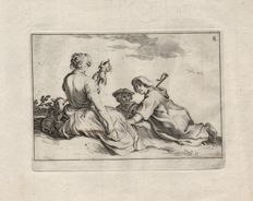 Abraham Bloemaert (1564-1651) by his son Cornelis (1603-1692) : A spinner and two peasants - From the Leisure serie - Ca. 1625