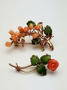 Gold-plated Brooches/pendant - Precious coral / Jade - handmade years: 1960