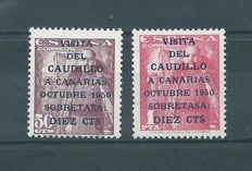 Spain 1950 – 'Visita del Caudillo a Canarias' (Visit of the Caudillo to the Canary Islands) – Edifil # 1088/1089