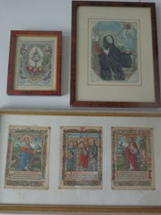 five coloured prints including Hortulus Animae 1516 - 16th and 17th century