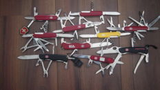 10 Victorinox Swiss Pocket knives including some special rescue tools