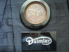 2 Daimler parts, 1 x logo - 70s, 1 x bowl made of metal - 20s