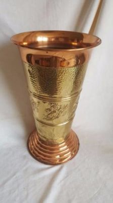 Gold-coloured with red-coloured copper umbrella stand; hammered copper - 2nd half 20th century