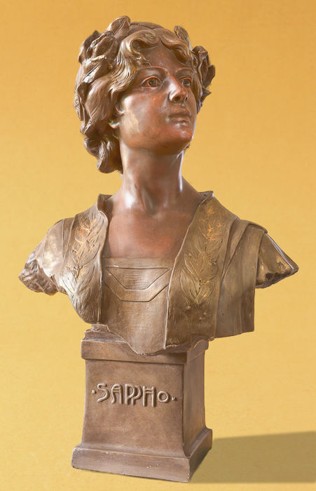 ' Sappho ' - Art Nouveau plaster bust of a young woman
