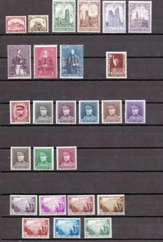 Belgium – 1928–1932 – Lot of series – Yvert No. 267/72, 305/7, 317/24, 325 , 356/62 .