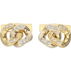 18 kt Bicolour yellow/white gold cufflinks set with diamonds of approx. 0.72 ct in total
