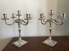 Pair of 5-flame candelabra convertible to candlesticks, Italy, 20th century