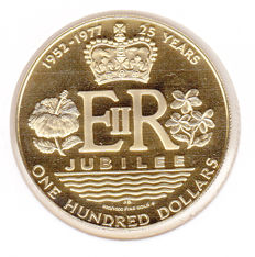 Cook Islands – 100 Dollars 1977 '25 Years Jubilee' – Gold