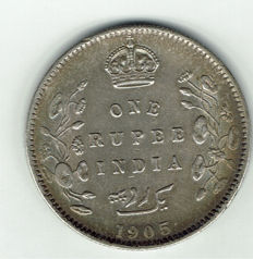 India British – Edward VII – 1 rupee 1905 – silver