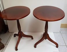 Two walnut tilt-top tables - 1960s - the Netherlands