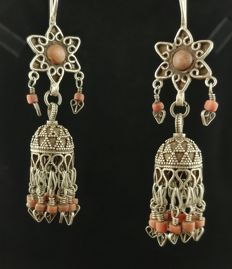 Antique silver earrings with coral - Kazakhstan, early 20th century