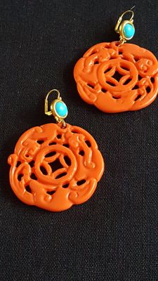 Kenneth J Lane coral resin earrings